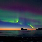 Aurora Borealis &amp; sunset by Frank Olsen