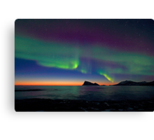 Aurora Borealis & sunset Canvas Print