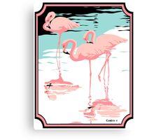 Pink Flamingos tropical retro pop art  Canvas Print