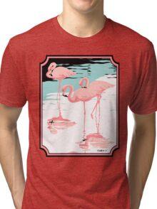 Pink Flamingos tropical retro pop art  Tri-blend T-Shirt