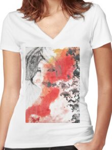 Eyes in a dreamy abstract world Women's Fitted V-Neck T-Shirt