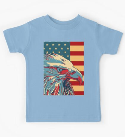 American Patriotic Eagle Bald Kids Tee