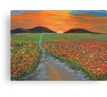 Blazing Sunset Poppy Field Wall Art original oil painting Canvas Print