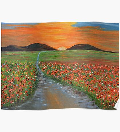 Blazing Sunset Poppy Field Wall Art original oil painting Poster