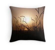 Wheat Stalks Sunset Throw Pillow