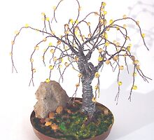Beaded in Brass Base - Beaded Wire Tree Sculpture by Sal Villano