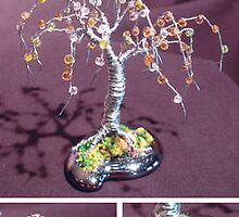 Beaded Willow - Mini Wire Tree Sculpture by Sal Villano