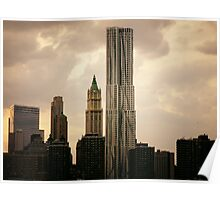New York by Gehry and the New York City Skyline Poster