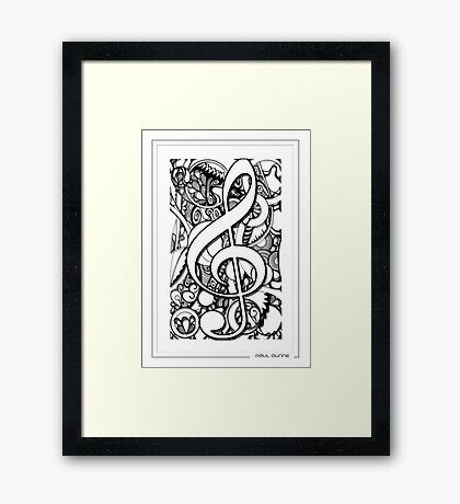 TREBLE CLEFF MUSICAL NOTE Framed Print