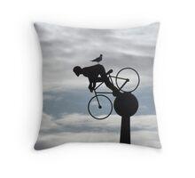 Bird on a Bikers Bum Throw Pillow