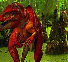 Allosaurus Hunted by a Raptor by artstoreroom