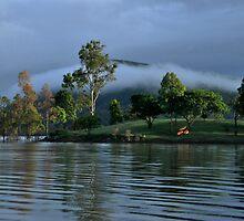 Mist over Lake Moogerah  by Barbara Burkhardt