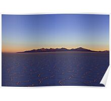 Sunset at Salar of Uyuni, Salar, Altiplano, Sud Lipez, Chile border, Bolivia, South america Poster
