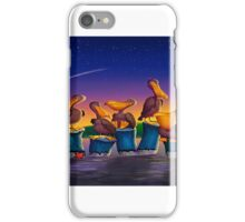 Pelican Sunset Whimsical Cartoon Tropical birds Seascape  iPhone Case/Skin