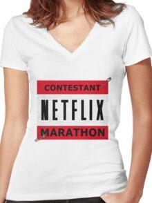 Netflix Marathon Women's Fitted V-Neck T-Shirt