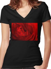 Red Rose Macro 3 Women's Fitted V-Neck T-Shirt