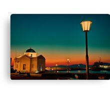 Greece. Mykonos. Night. Church. Canvas Print