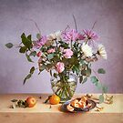 Still Life with Mums and Oranges by Colleen Farrell