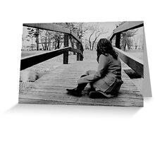 Girl sitting on bridge Greeting Card