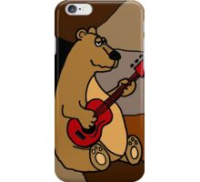 Cool Funny Brown Bear Playing Red Guitar iPhone Case/Skin