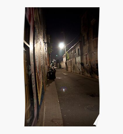 College Street Alley At Night Poster