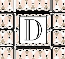 1920s Pink Champagne Gatsby Monogram letter D by CecelyBloom
