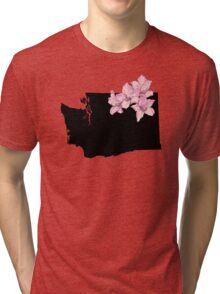 Washington Silhouette and Flowers Tri-blend T-Shirt