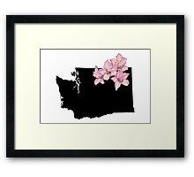 Washington Silhouette and Flowers Framed Print