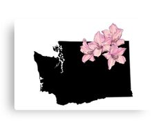 Washington Silhouette and Flowers Canvas Print