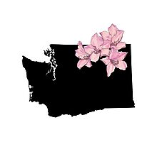 Washington Silhouette and Flowers Photographic Print