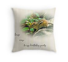 Birthday Party Invitation - Chipmunk Throw Pillow