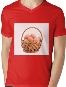 eggs in wicker basket  Mens V-Neck T-Shirt