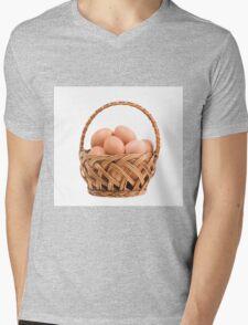 eggs in wicker basket  Mens V-Neck T-Shirt