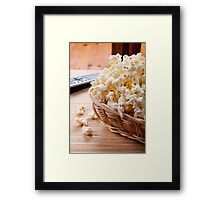 basket full of many crunchy popcorn Framed Print