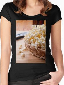 basket full of many crunchy popcorn Women's Fitted Scoop T-Shirt