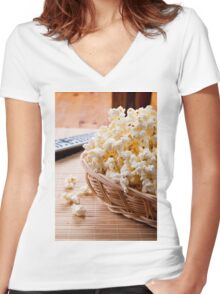 basket full of many crunchy popcorn Women's Fitted V-Neck T-Shirt