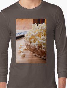 basket full of many crunchy popcorn Long Sleeve T-Shirt