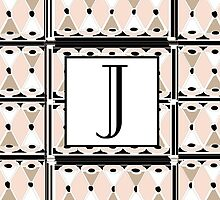 1920s Pink Champagne Gatsby Monogram letter J by CecelyBloom