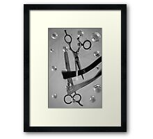 Shear Cut b&w cartoon 2 Framed Print