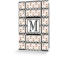 1920s Pink Champagne Gatsby Monogram letter M Greeting Card