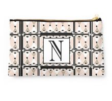 1920s Pink Champagne Gatsby Monogram letter N Studio Pouch