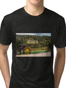 Sternwheeler moored on river  Tri-blend T-Shirt