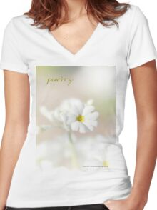 Purity STICKER © Vicki Ferrari Photography Women's Fitted V-Neck T-Shirt