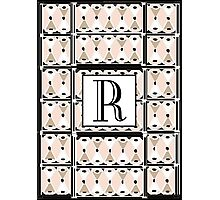 1920s Pink Champagne Gatsby Monogram letter R Photographic Print