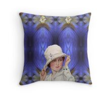 Girl with White Hat Throw Pillow