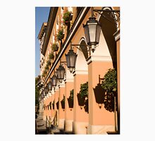 Lamps shadows on columns of building Unisex T-Shirt