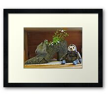 Sloth with Antique Shoe Framed Print