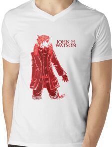 John Watson - Red - Text Mens V-Neck T-Shirt