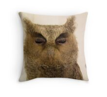 Cheeko the scops owl and drawing buddy Throw Pillow