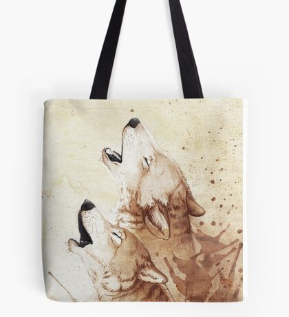 Watercolor Howling Wolves Tote Bag